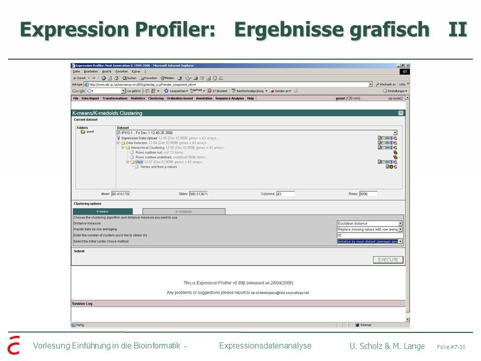 Vorlesung Einführung in die Bioinformatik - U. Scholz & M. Lange Folie #7-30 Expressionsdatenanalyse Expression Profiler: Ergebnisse grafisch II Expre