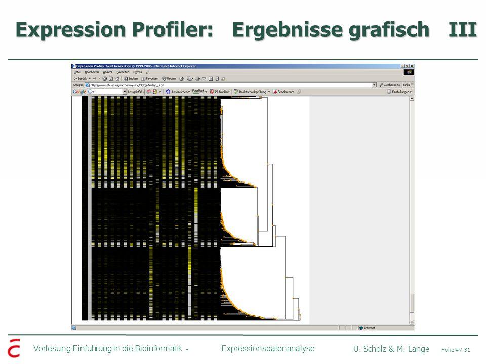Vorlesung Einführung in die Bioinformatik - U. Scholz & M. Lange Folie #7-31 Expressionsdatenanalyse Expression Profiler: Ergebnisse grafisch III Expr