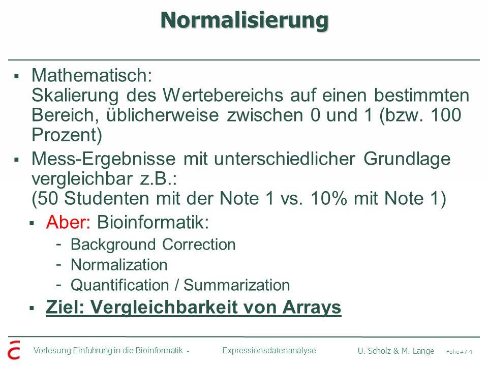 Vorlesung Einführung in die Bioinformatik - U. Scholz & M. Lange Folie #7-4 Expressionsdatenanalyse Normalisierung Mathematisch: Skalierung des Werteb