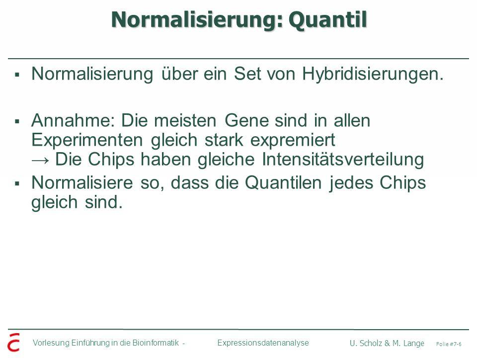 Vorlesung Einführung in die Bioinformatik - U. Scholz & M. Lange Folie #7-6 Expressionsdatenanalyse Normalisierung: Quantil Normalisierung über ein Se