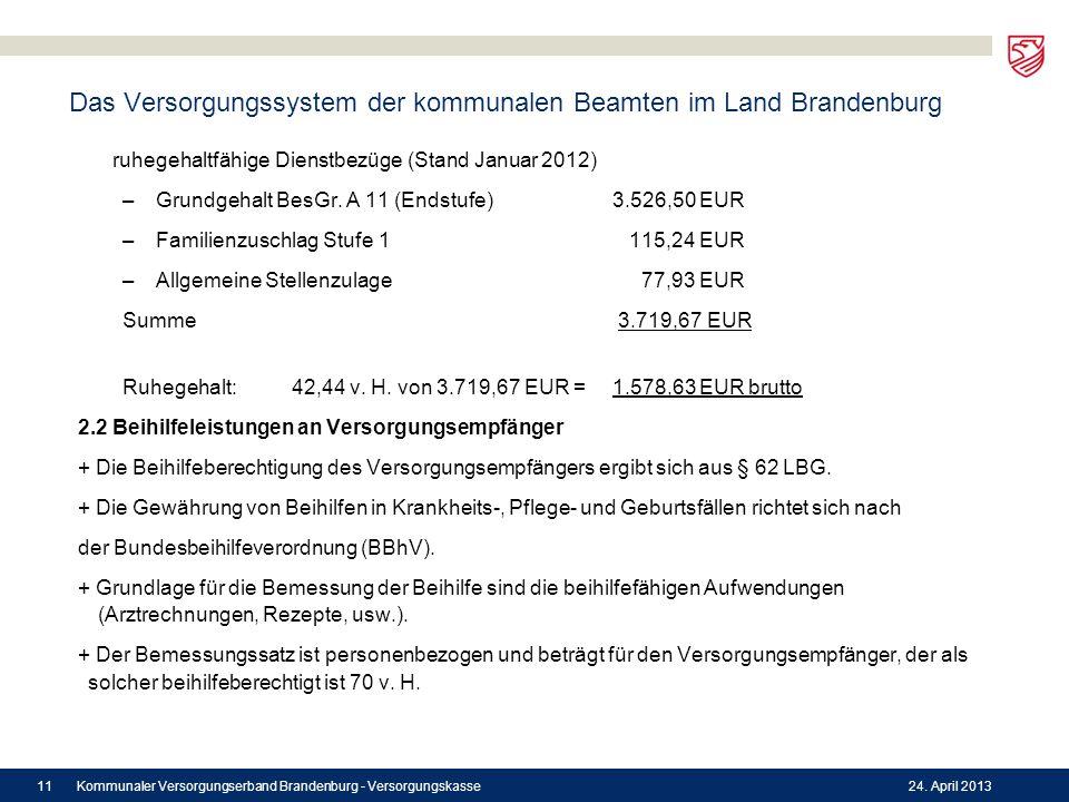 Das Versorgungssystem der kommunalen Beamten im Land Brandenburg ruhegehaltfähige Dienstbezüge (Stand Januar 2012) –Grundgehalt BesGr. A 11 (Endstufe)