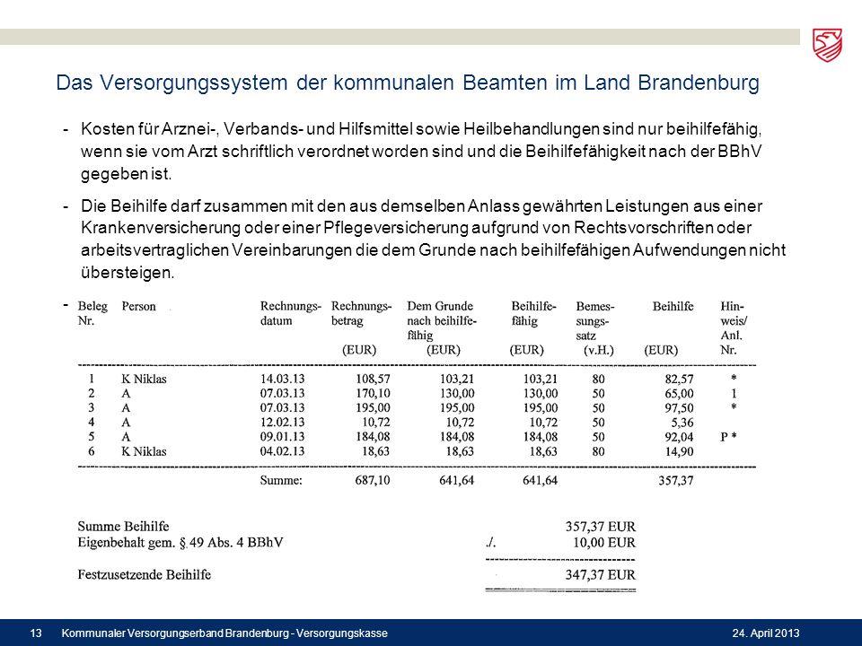 Das Versorgungssystem der kommunalen Beamten im Land Brandenburg -Kosten für Arznei-, Verbands- und Hilfsmittel sowie Heilbehandlungen sind nur beihil
