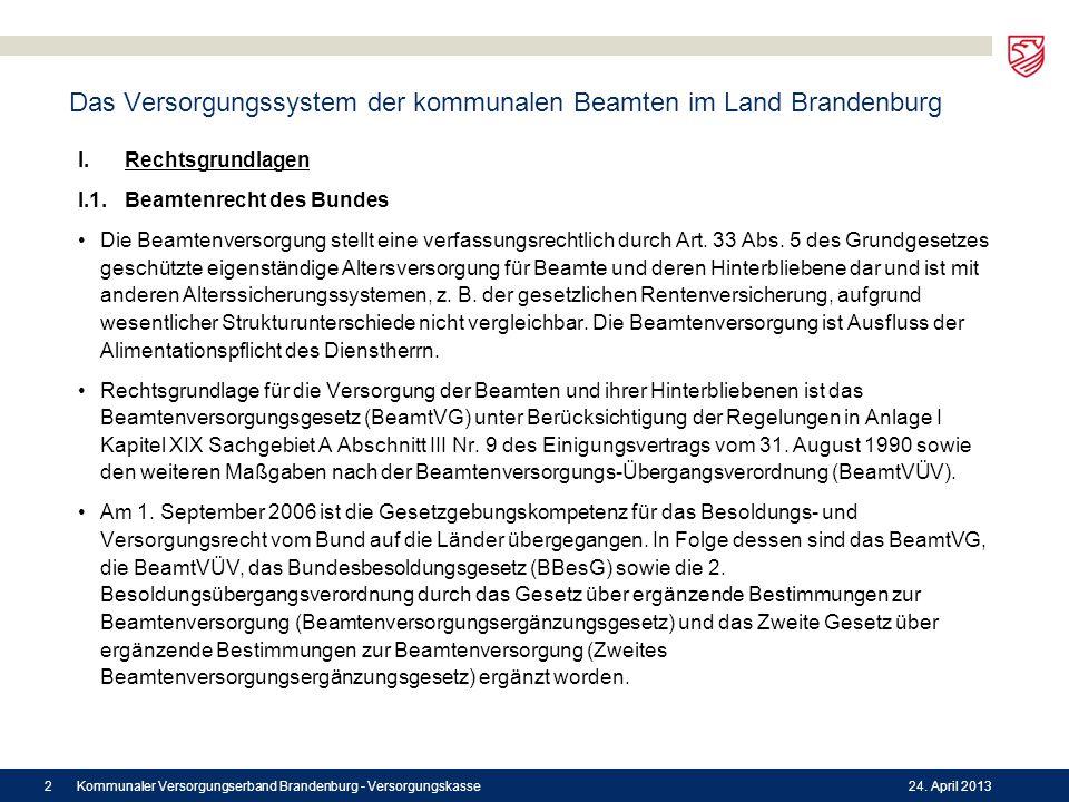 Das Versorgungssystem der kommunalen Beamten im Land Brandenburg I.Rechtsgrundlagen I.1.Beamtenrecht des Bundes Die Beamtenversorgung stellt eine verf