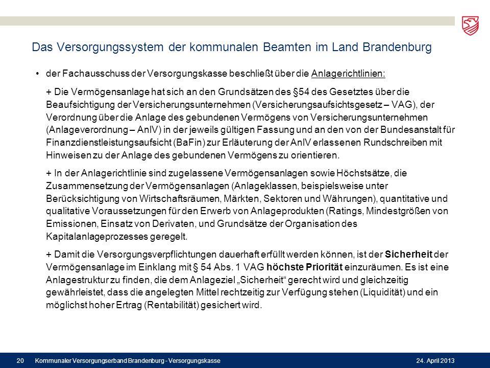 Das Versorgungssystem der kommunalen Beamten im Land Brandenburg der Fachausschuss der Versorgungskasse beschließt über die Anlagerichtlinien: + Die V