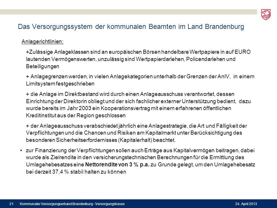 Das Versorgungssystem der kommunalen Beamten im Land Brandenburg Anlagerichtlinien: +Zulässige Anlageklassen sind an europäischen Börsen handelbare We
