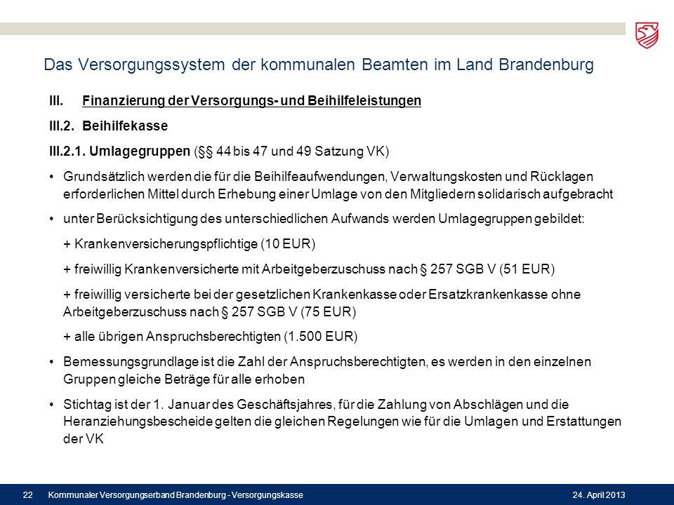 Das Versorgungssystem der kommunalen Beamten im Land Brandenburg III. Finanzierung der Versorgungs- und Beihilfeleistungen III.2. Beihilfekasse III.2.