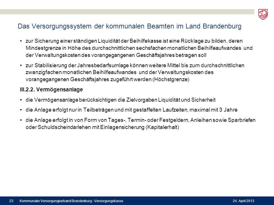 Das Versorgungssystem der kommunalen Beamten im Land Brandenburg zur Sicherung einer ständigen Liquidität der Beihilfekasse ist eine Rücklage zu bilde