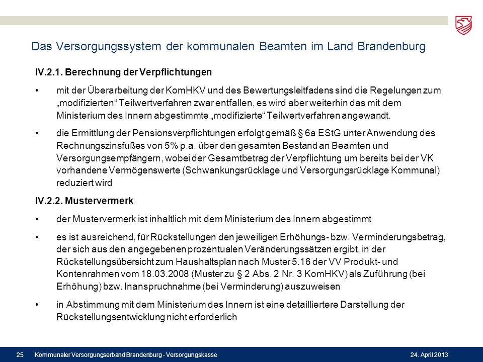Das Versorgungssystem der kommunalen Beamten im Land Brandenburg IV.2.1. Berechnung der Verpflichtungen mit der Überarbeitung der KomHKV und des Bewer