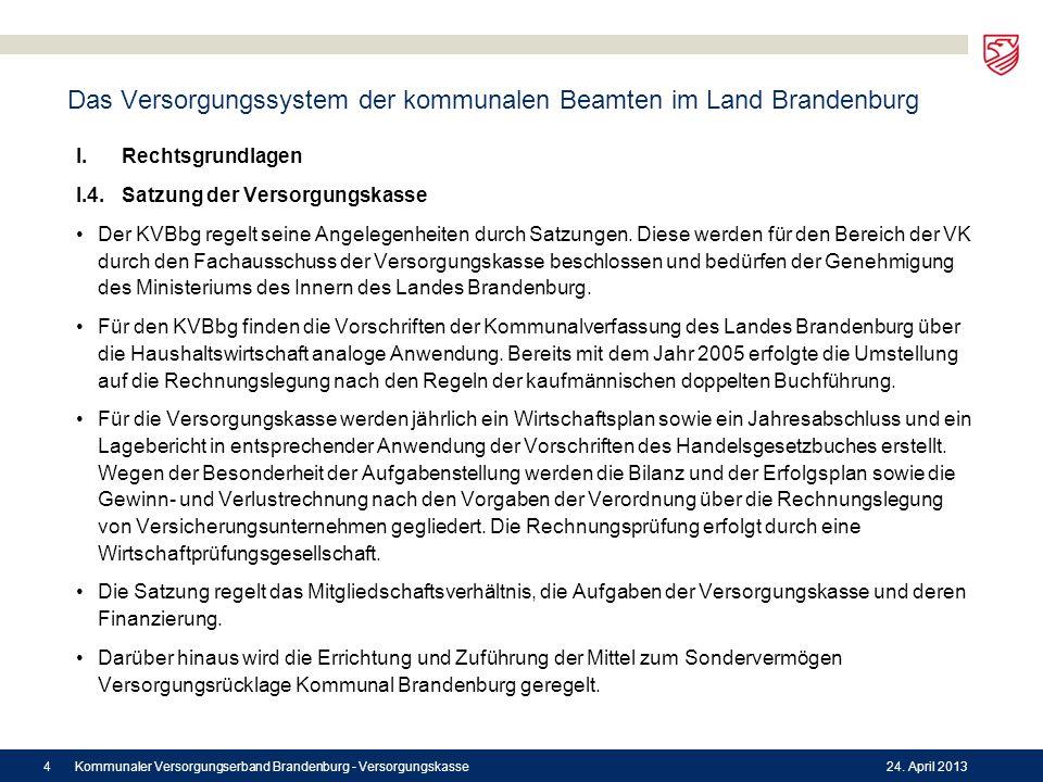 Das Versorgungssystem der kommunalen Beamten im Land Brandenburg I.Rechtsgrundlagen I.4.Satzung der Versorgungskasse Der KVBbg regelt seine Angelegenh