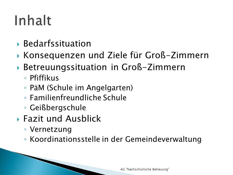 Bedarfssituation Konsequenzen und Ziele für Groß-Zimmern Betreuungssituation in Groß-Zimmern Pfiffikus PäM (Schule im Angelgarten) Familienfreundliche