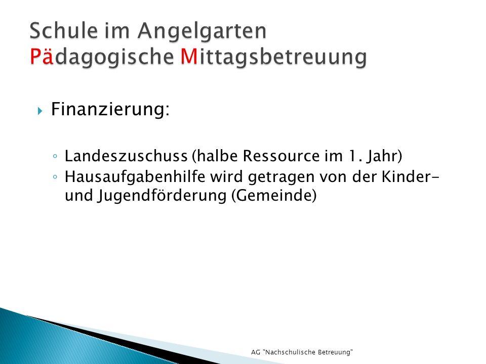AG Nachschulische Betreuung Finanzierung: Landeszuschuss (halbe Ressource im 1.