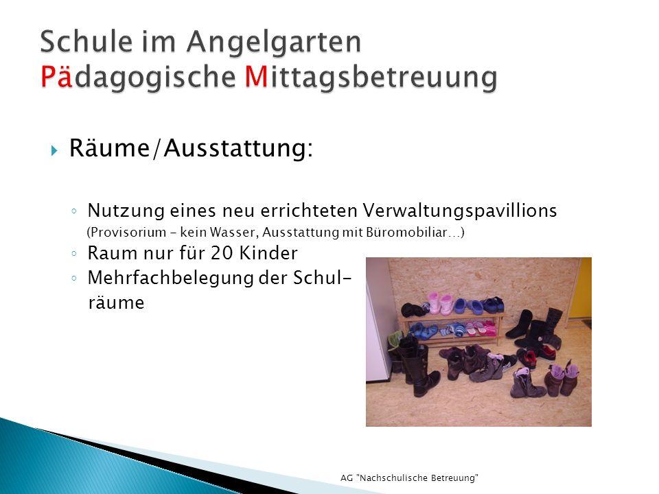 AG Nachschulische Betreuung Räume/Ausstattung: Nutzung eines neu errichteten Verwaltungspavillions (Provisorium - kein Wasser, Ausstattung mit Büromobiliar…) Raum nur für 20 Kinder Mehrfachbelegung der Schul- räume