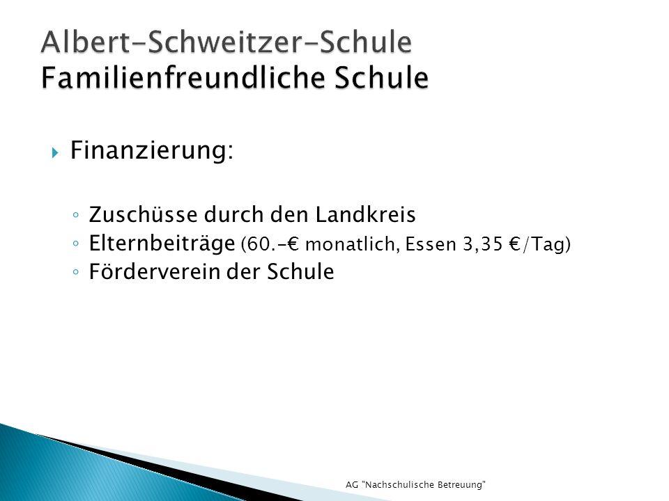 AG Nachschulische Betreuung Finanzierung: Zuschüsse durch den Landkreis Elternbeiträge (60.- monatlich, Essen 3,35 /Tag) Förderverein der Schule