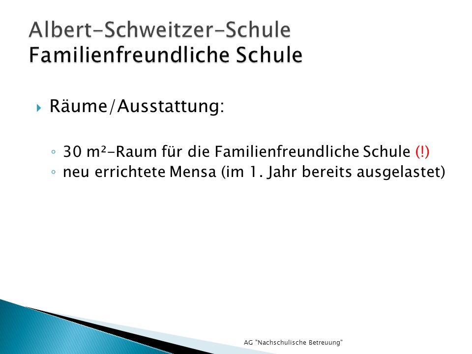AG Nachschulische Betreuung Räume/Ausstattung: 30 m²-Raum für die Familienfreundliche Schule (!) neu errichtete Mensa (im 1.