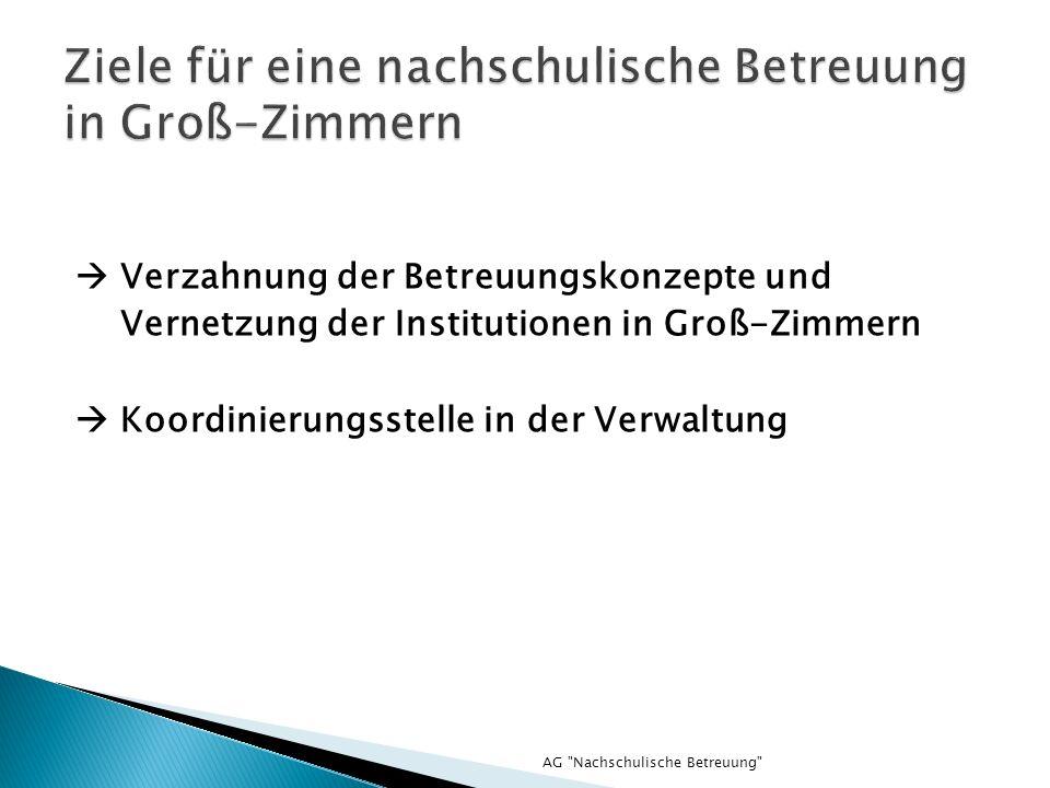 Verzahnung der Betreuungskonzepte und Vernetzung der Institutionen in Groß-Zimmern Koordinierungsstelle in der Verwaltung AG