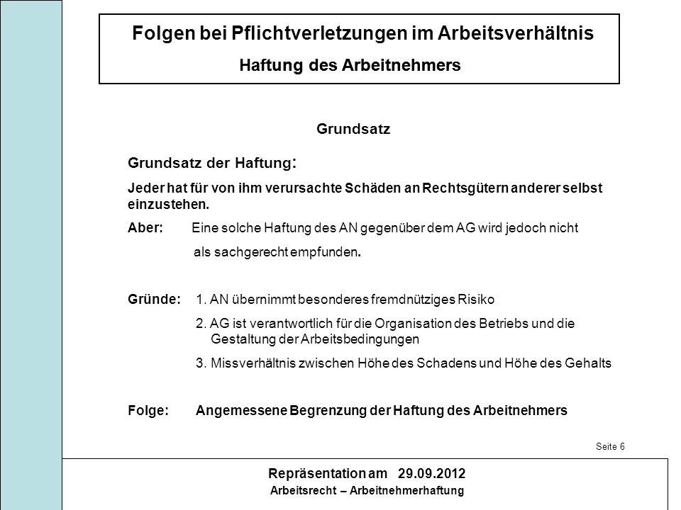Folgen bei Pflichtverletzungen im Arbeitsverhältnis Haftung des Arbeitnehmers Repräsentation am 29.09.2012 Arbeitsrecht – Arbeitnehmerhaftung Haftung des Arbeitnehmers Herr Schussel hat vorliegend seine arbeitsvertraglichen Pflichten verletzt.