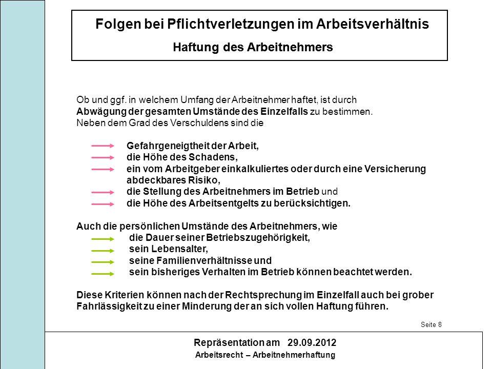 Folgen bei Pflichtverletzungen im Arbeitsverhältnis Haftung des Arbeitnehmers Repräsentation am 29.09.2012 Arbeitsrecht – Arbeitnehmerhaftung Haftung