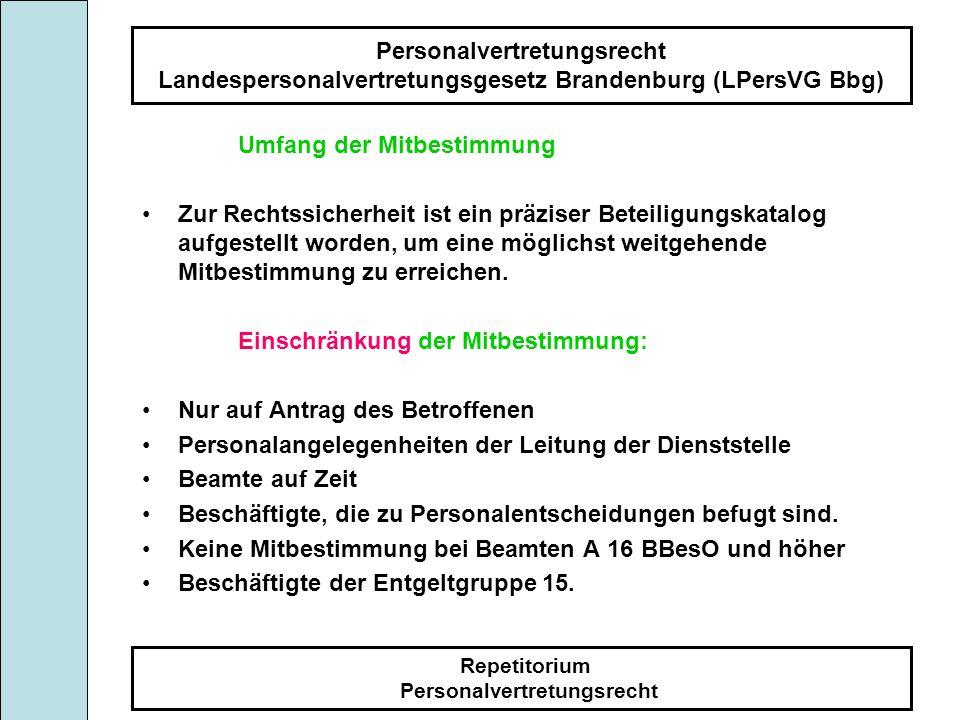 Personalvertretungsrecht Landespersonalvertretungsgesetz Brandenburg (LPersVG Bbg) Repetitorium Personalvertretungsrecht Umfang der Mitbestimmung Zur