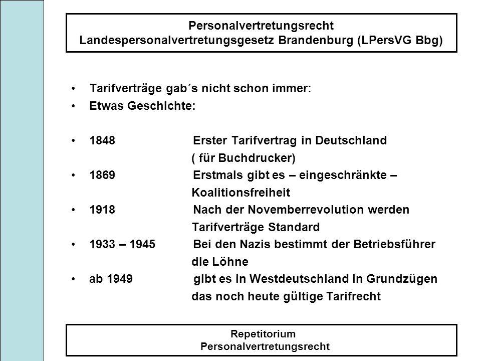 Personalvertretungsrecht Landespersonalvertretungsgesetz Brandenburg (LPersVG Bbg) Repetitorium Personalvertretungsrecht Tarifverträge gab´s nicht sch