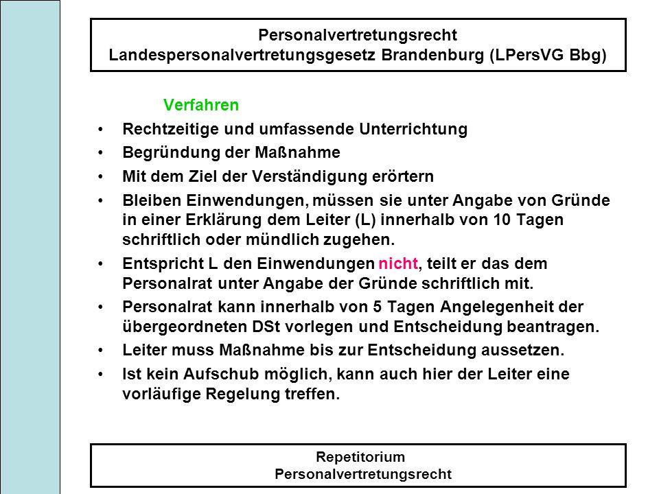 Personalvertretungsrecht Landespersonalvertretungsgesetz Brandenburg (LPersVG Bbg) Repetitorium Personalvertretungsrecht Verfahren Rechtzeitige und um