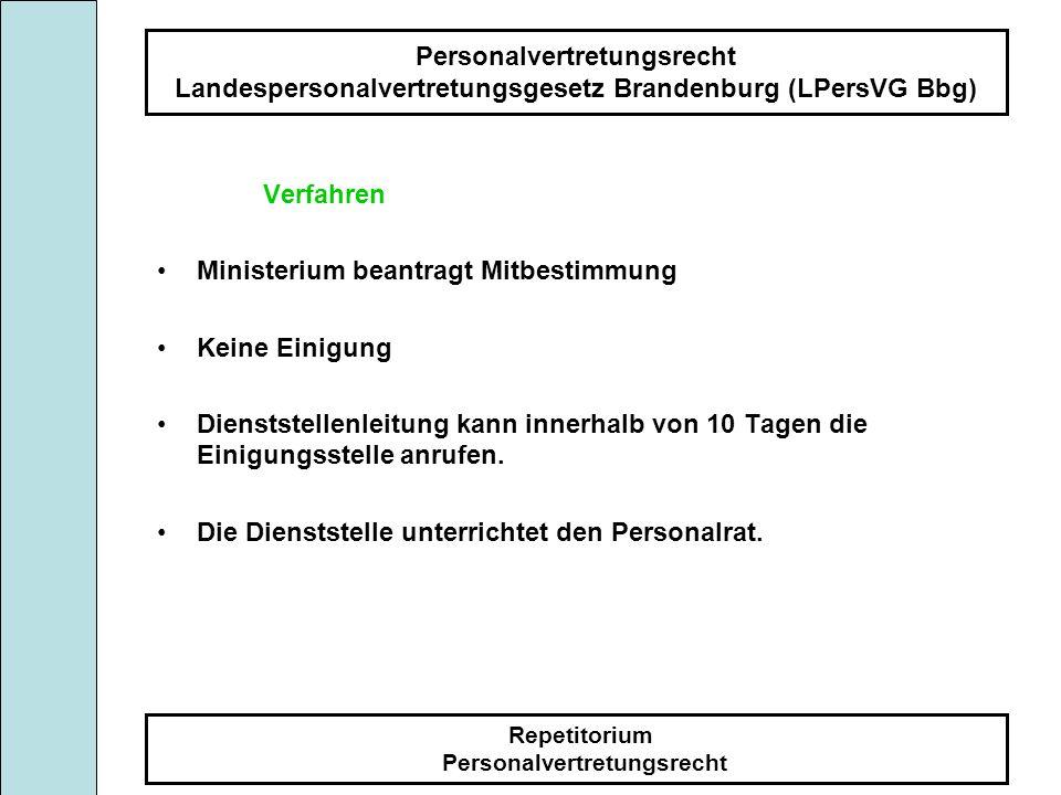 Personalvertretungsrecht Landespersonalvertretungsgesetz Brandenburg (LPersVG Bbg) Repetitorium Personalvertretungsrecht Verfahren Ministerium beantra