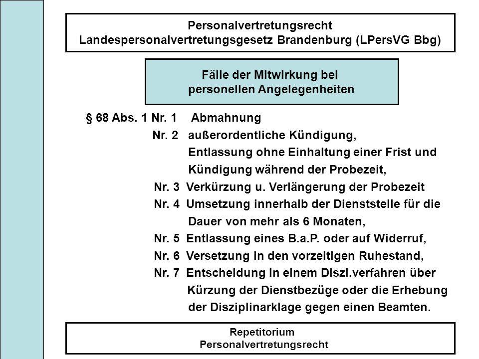 Personalvertretungsrecht Landespersonalvertretungsgesetz Brandenburg (LPersVG Bbg) Repetitorium Personalvertretungsrecht Fälle der Mitwirkung bei pers