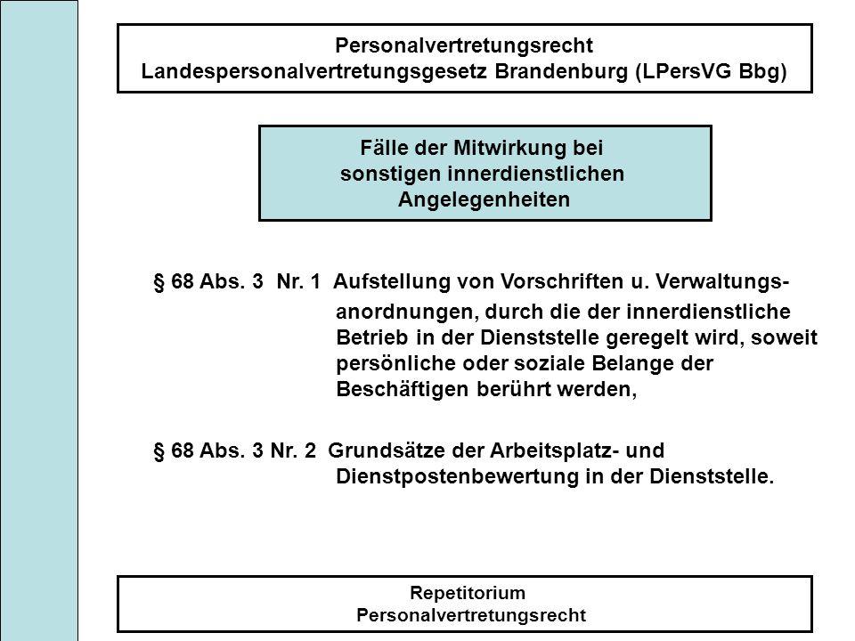 Personalvertretungsrecht Landespersonalvertretungsgesetz Brandenburg (LPersVG Bbg) Repetitorium Personalvertretungsrecht Fälle der Mitwirkung bei sons
