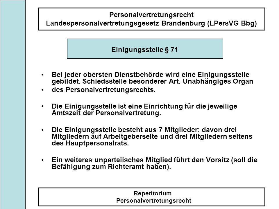 Personalvertretungsrecht Landespersonalvertretungsgesetz Brandenburg (LPersVG Bbg) Repetitorium Personalvertretungsrecht Einigungsstelle § 71 Bei jede