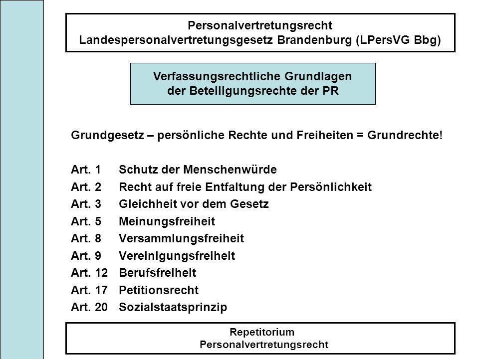 Personalvertretungsrecht Landespersonalvertretungsgesetz Brandenburg (LPersVG Bbg) Repetitorium Personalvertretungsrecht Umfang der Mitbestimmung Der Personalrat bestimmt mit bei personellen ( § 63 ) sozialen ( § 64 ) organisatorischen ( § 65 ) sonstigen interdienstlichen Maßnahmen, die die Beschäftigten betreffen oder sich unmittelbar auf sie auswirken ( § 66).