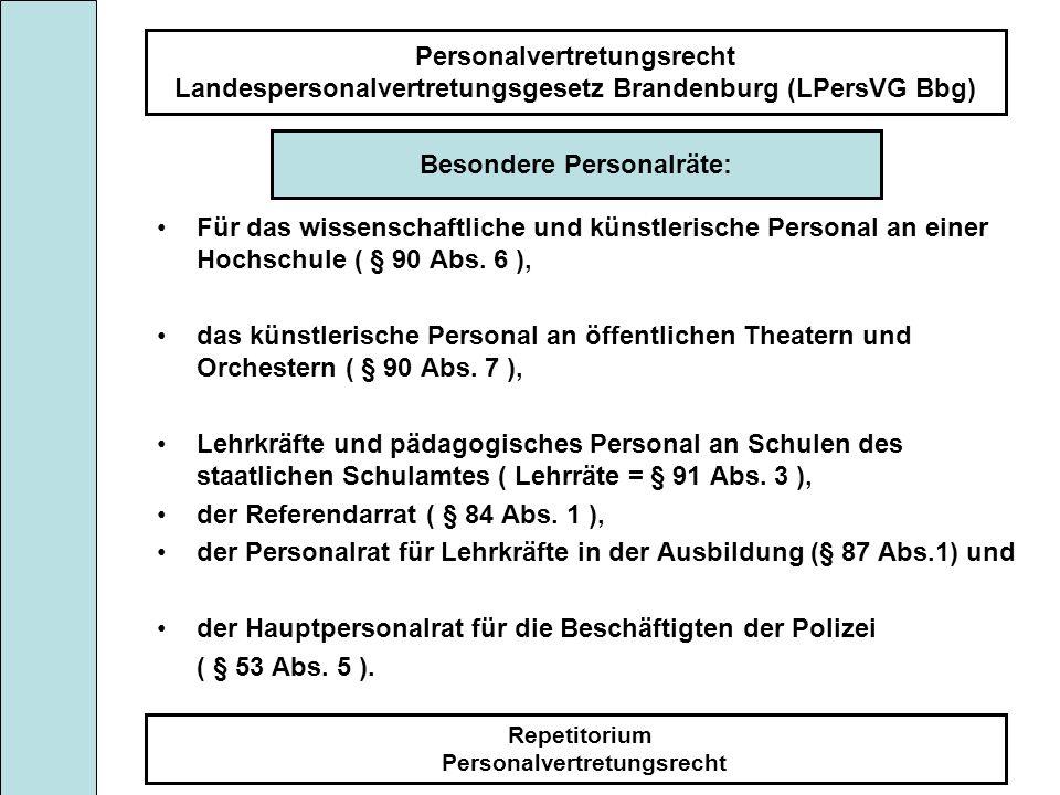 Personalvertretungsrecht Landespersonalvertretungsgesetz Brandenburg (LPersVG Bbg) Repetitorium Personalvertretungsrecht Für das wissenschaftliche und