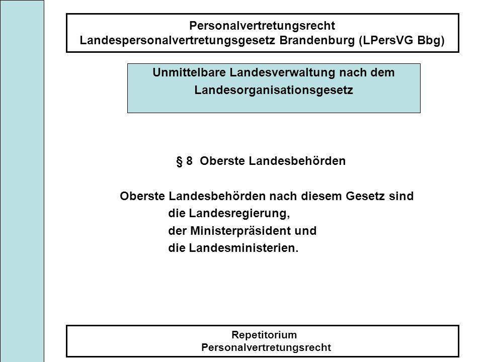 Personalvertretungsrecht Landespersonalvertretungsgesetz Brandenburg (LPersVG Bbg) Repetitorium Personalvertretungsrecht § 8 Oberste Landesbehörden Ob