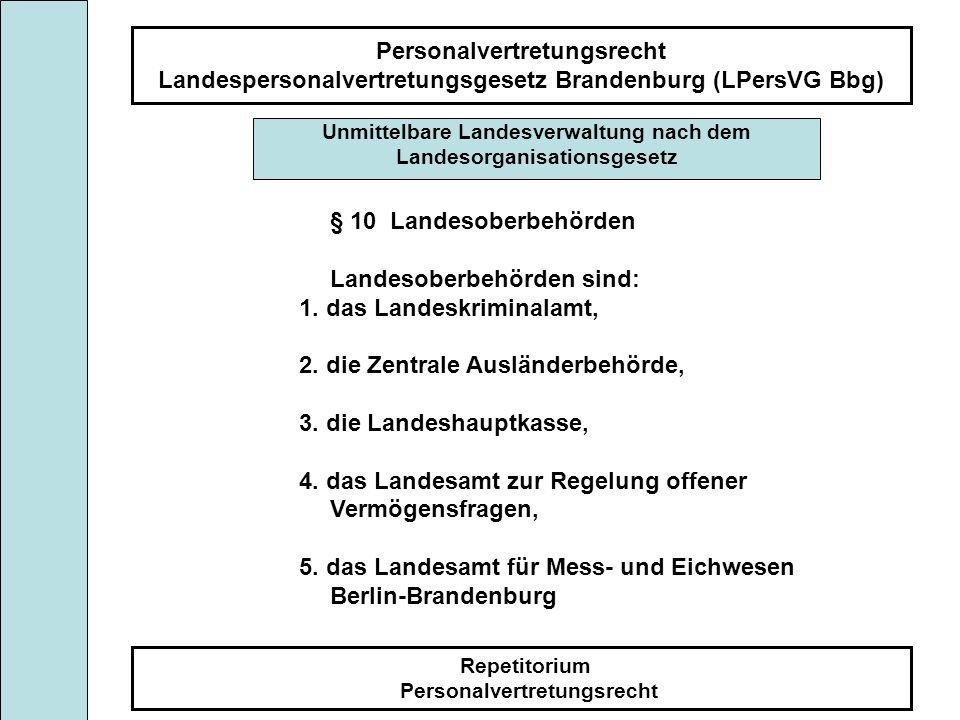 Personalvertretungsrecht Landespersonalvertretungsgesetz Brandenburg (LPersVG Bbg) Repetitorium Personalvertretungsrecht Unmittelbare Landesverwaltung