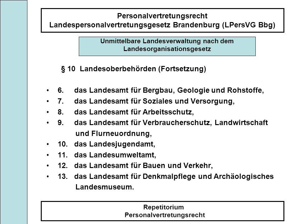 Personalvertretungsrecht Landespersonalvertretungsgesetz Brandenburg (LPersVG Bbg) Repetitorium Personalvertretungsrecht § 10 Landesoberbehörden (Fort