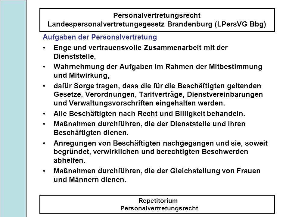 Personalvertretungsrecht Landespersonalvertretungsgesetz Brandenburg (LPersVG Bbg) Repetitorium Personalvertretungsrecht Aufgaben der Personalvertretung Der Personalrat fördert: die Eingliederung und berufliche Entwicklung schutzbedürftiger Personen.