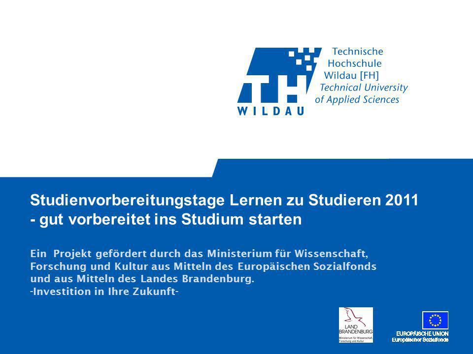 Studienvorbereitungstage Lernen zu Studieren 2011 - gut vorbereitet ins Studium starten Ein Projekt gefördert durch das Ministerium für Wissenschaft, Forschung und Kultur aus Mitteln des Europäischen Sozialfonds und aus Mitteln des Landes Brandenburg.