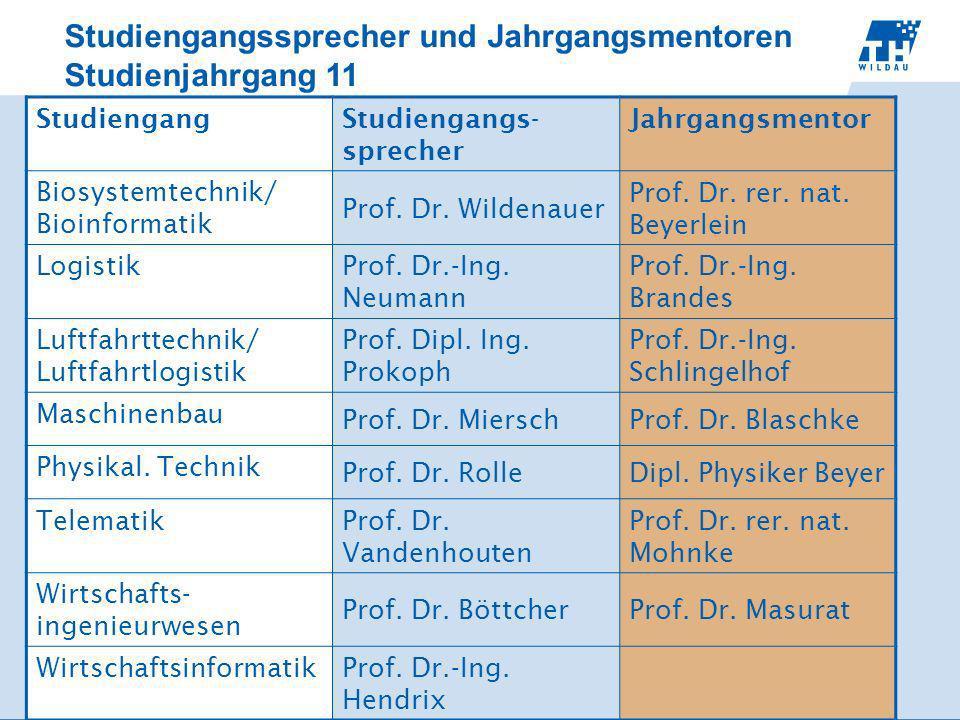 Studiengangssprecher und Jahrgangsmentoren Studienjahrgang 11 StudiengangStudiengangs- sprecher Jahrgangsmentor Biosystemtechnik/ Bioinformatik Prof.