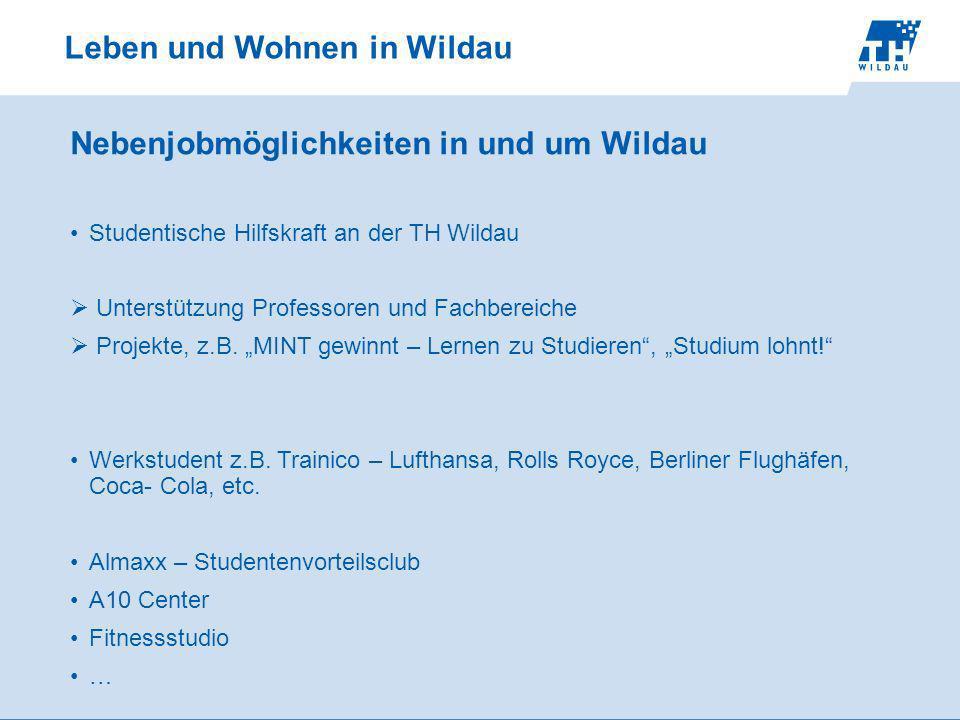 Leben und Wohnen in Wildau Nebenjobmöglichkeiten in und um Wildau Studentische Hilfskraft an der TH Wildau Unterstützung Professoren und Fachbereiche Projekte, z.B.