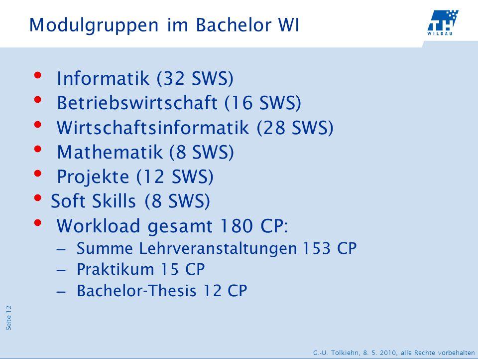 Seite 12 G.-U. Tolkiehn, 8. 5. 2010, alle Rechte vorbehalten Modulgruppen im Bachelor WI Informatik (32 SWS) Betriebswirtschaft (16 SWS) Wirtschaftsin