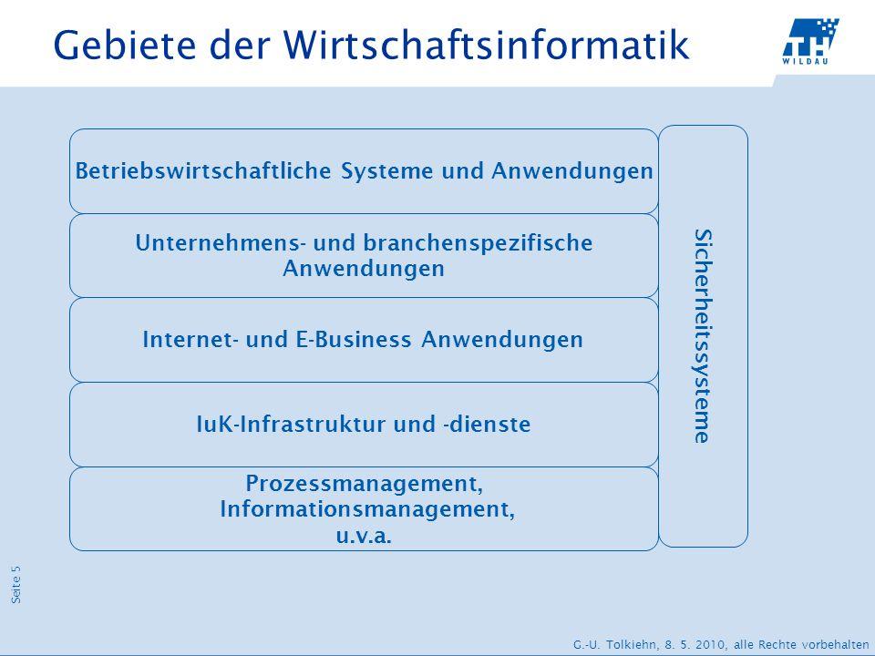 Seite 5 G.-U. Tolkiehn, 8. 5. 2010, alle Rechte vorbehalten Gebiete der Wirtschaftsinformatik Prozessmanagement, Informationsmanagement, u.v.a. IuK-In