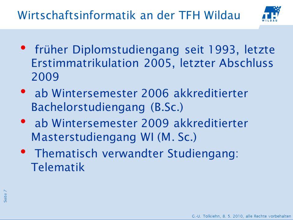 Seite 7 G.-U. Tolkiehn, 8. 5. 2010, alle Rechte vorbehalten Wirtschaftsinformatik an der TFH Wildau früher Diplomstudiengang seit 1993, letzte Erstimm