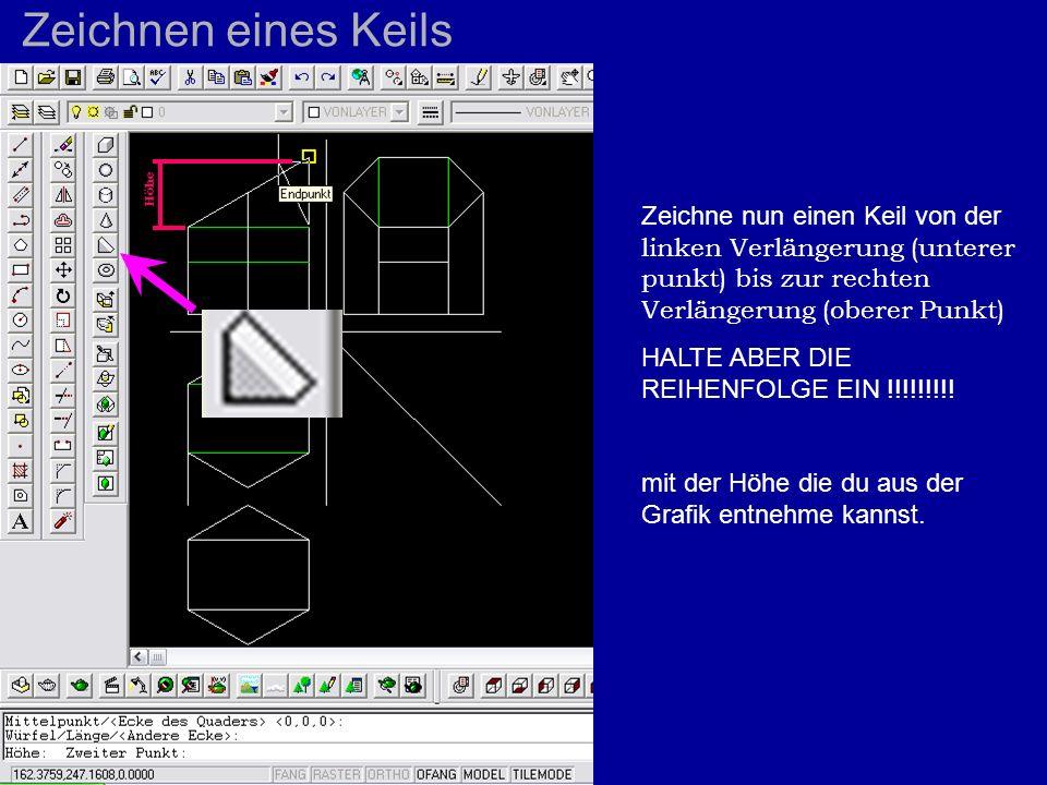 Zeichnen eines Keils Zeichne nun einen Keil von der linken Verlängerung (unterer punkt) bis zur rechten Verlängerung (oberer Punkt) HALTE ABER DIE REI