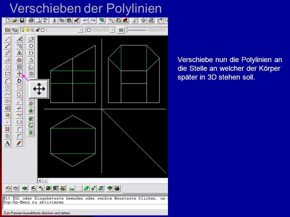 Verschieben der Polylinien Verschiebe nun die Polylinien an die Stelle an welcher der Körper später in 3D stehen soll.
