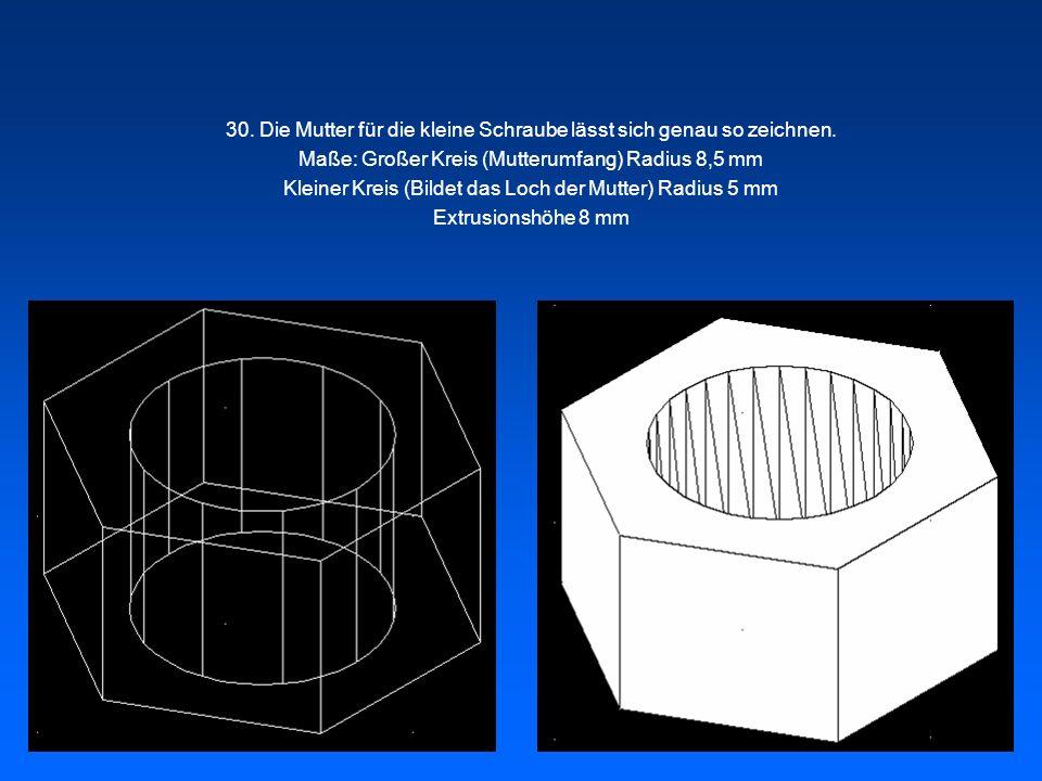 30. Die Mutter für die kleine Schraube lässt sich genau so zeichnen. Maße: Großer Kreis (Mutterumfang) Radius 8,5 mm Kleiner Kreis (Bildet das Loch de