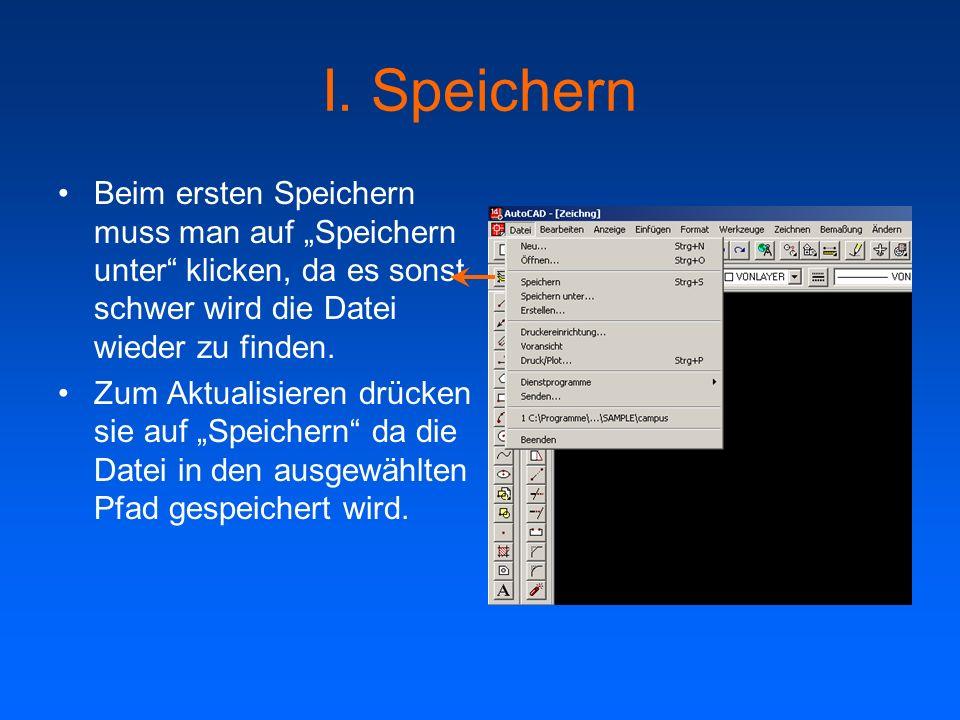 I. Speichern Beim ersten Speichern muss man auf Speichern unter klicken, da es sonst schwer wird die Datei wieder zu finden. Zum Aktualisieren drücken