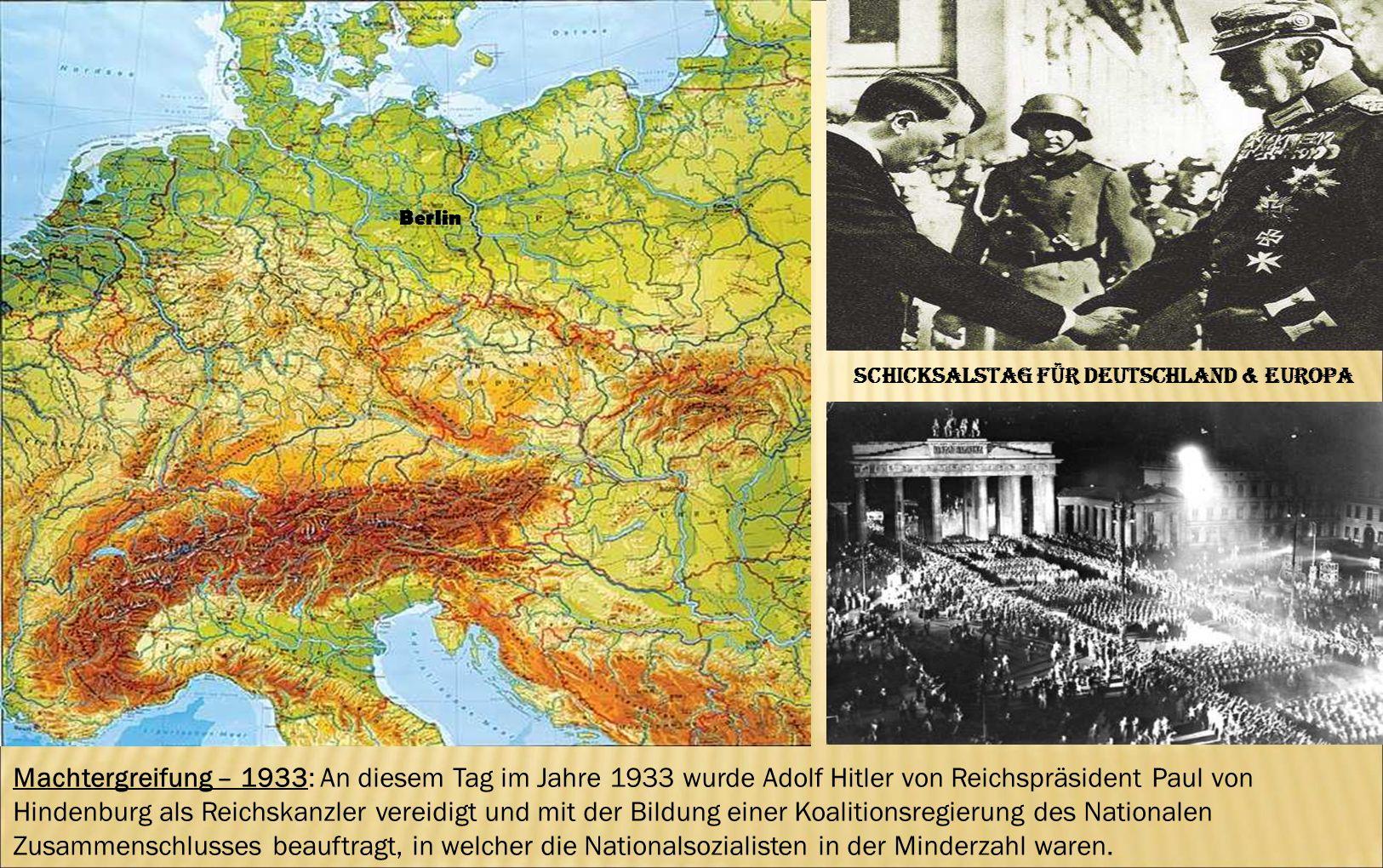 Berlin Machtergreifung – 1933: An diesem Tag im Jahre 1933 wurde Adolf Hitler von Reichspräsident Paul von Hindenburg als Reichskanzler vereidigt und