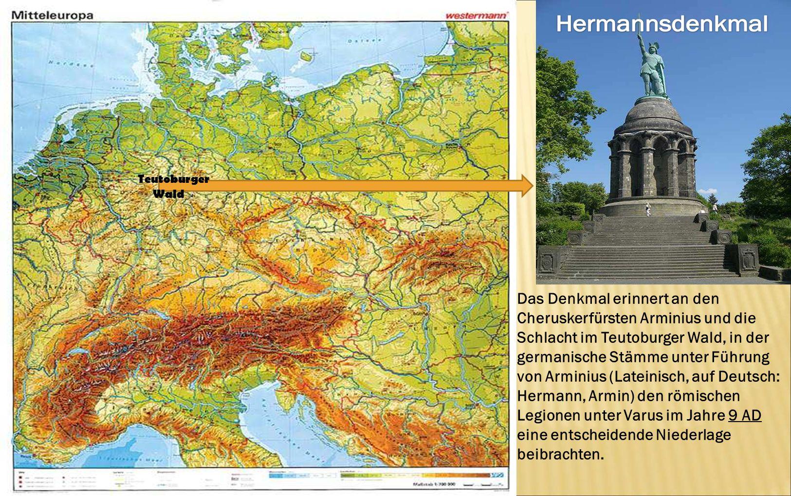 Das Denkmal erinnert an den Cheruskerfürsten Arminius und die Schlacht im Teutoburger Wald, in der germanische Stämme unter Führung von Arminius (Late