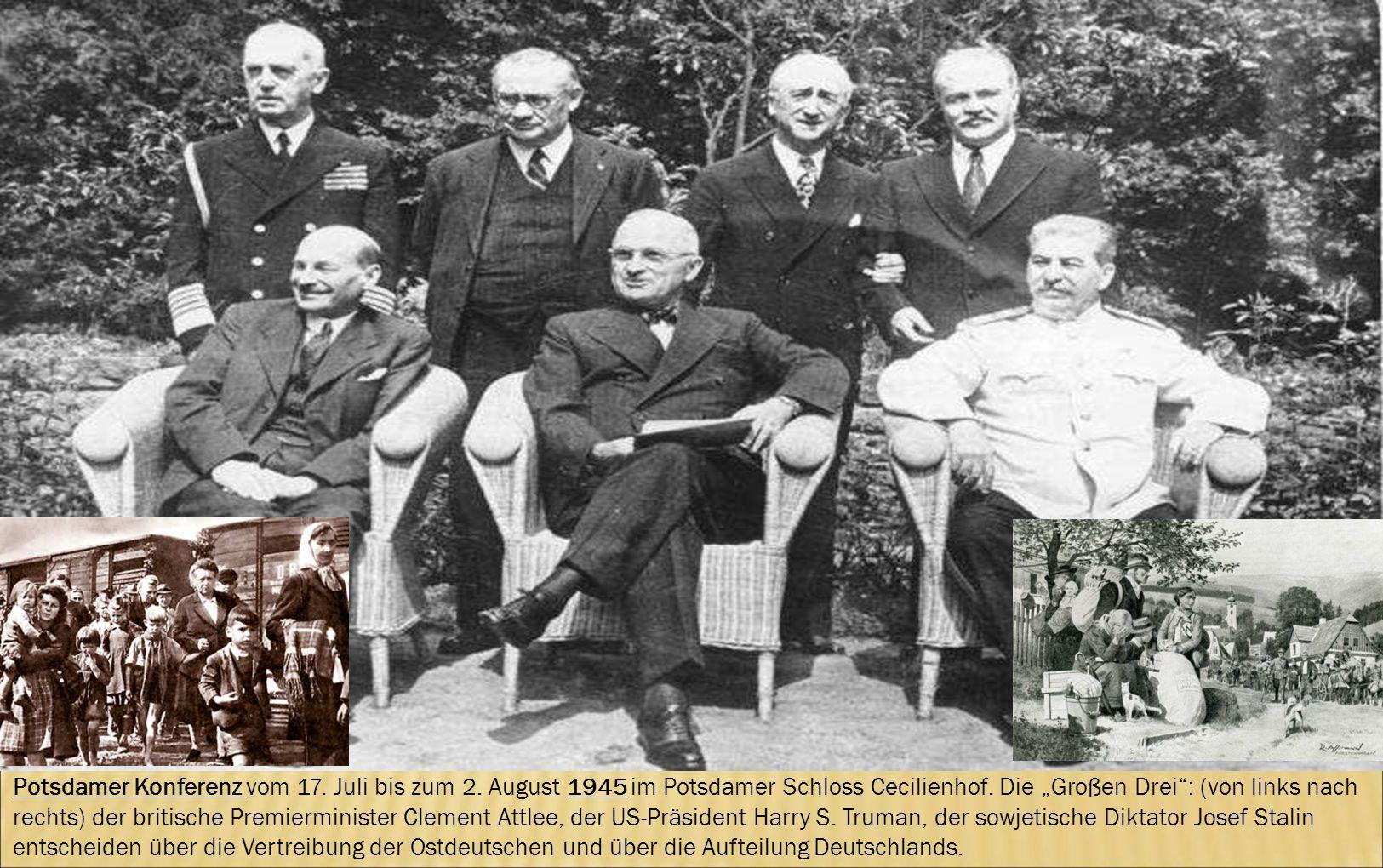 Potsdamer Konferenz vom 17. Juli bis zum 2. August 1945 im Potsdamer Schloss Cecilienhof. Die Großen Drei: (von links nach rechts) der britische Premi