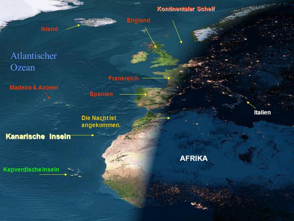 Frankreich Island Italien Kontinentaler Schelf England AFRIKA Die Nacht ist angekommen.