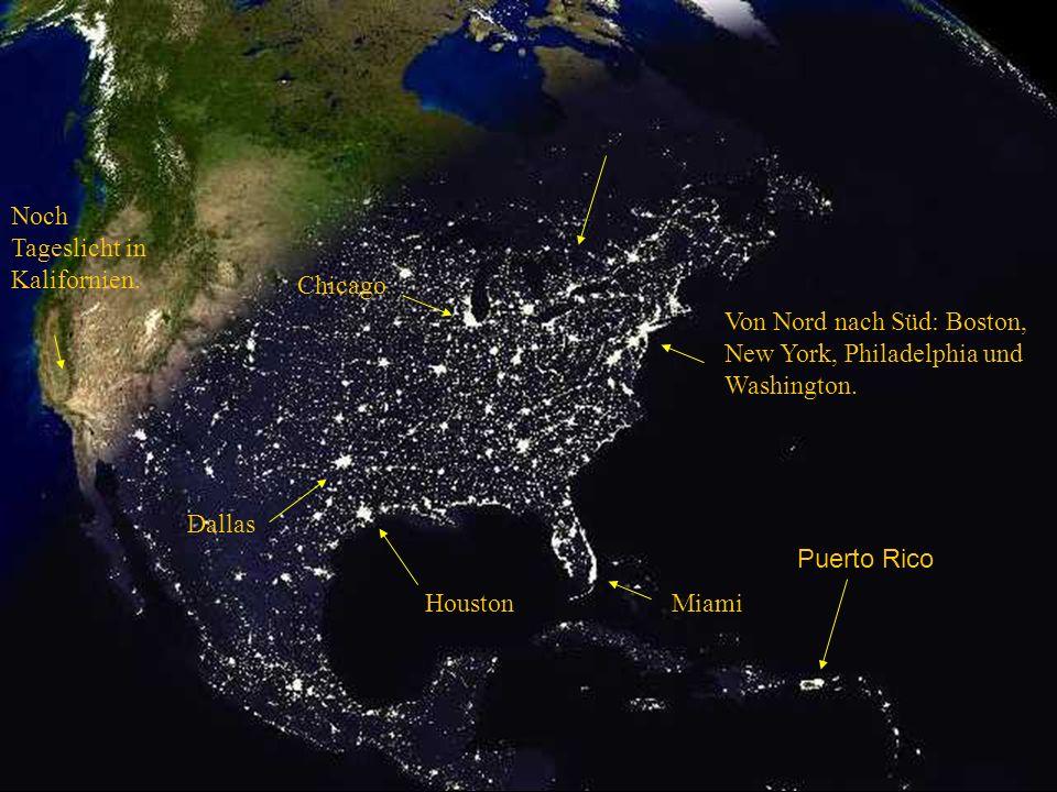 Von Nord nach Süd: Boston, New York, Philadelphia und Washington.