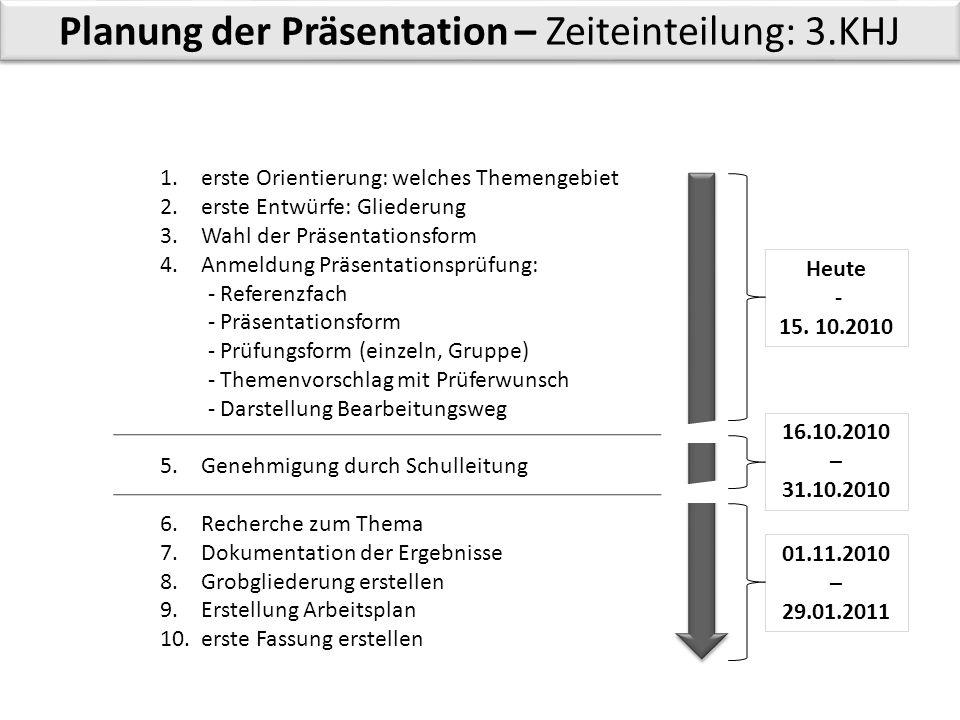 Planung der Präsentation – Zeiteinteilung: 3.KHJ 1. erste Orientierung: welches Themengebiet 2. erste Entwürfe: Gliederung 3. Wahl der Präsentationsfo